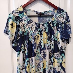 Style & Co Pleated Neck Blouse in Floral